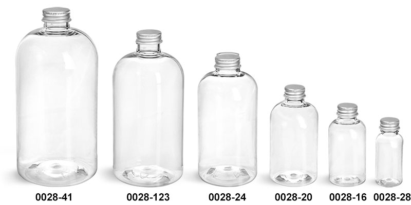 Plastic Bottles, Clear PET Boston Round Bottles With Silver Caps