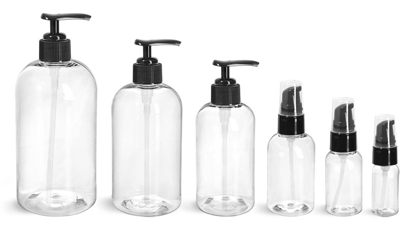 PET Plastic Bottles, Clear Boston Round Bottles w/ Black Lotion Pumps & Treatment Pumps