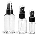 Clear PET Boston Round Bottles With Black Treatment Pumps