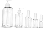 Clear PET Boston Round Bottles w/ White Lotion Pumps & Treatment Pumps