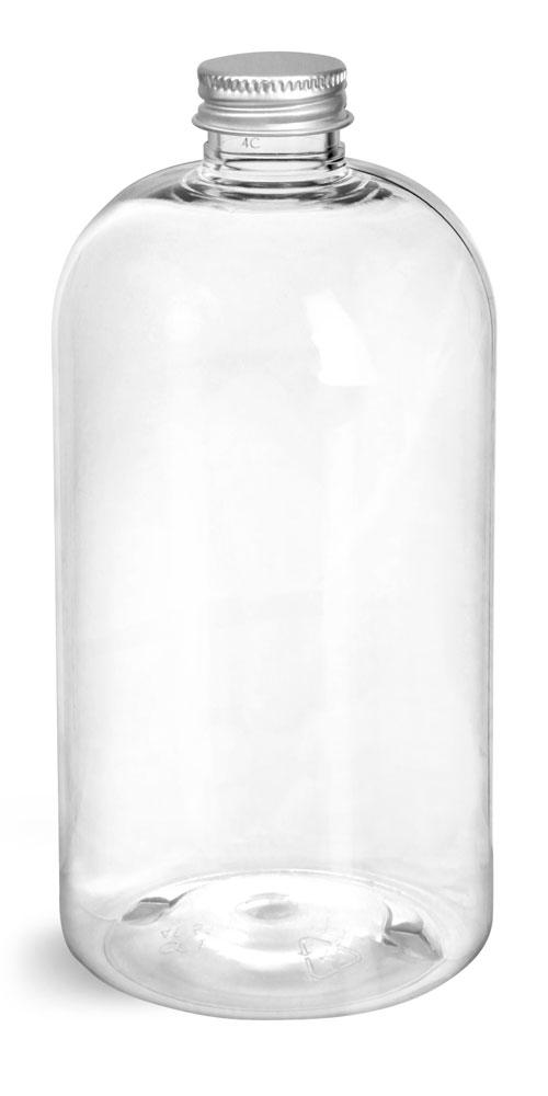16 oz Clear PET Boston Round Bottles w/ Lined Aluminum Caps