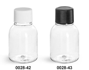 Plastic Bottles, 1 oz Clear PET Modern Round Amenity Bottles w/ Caps