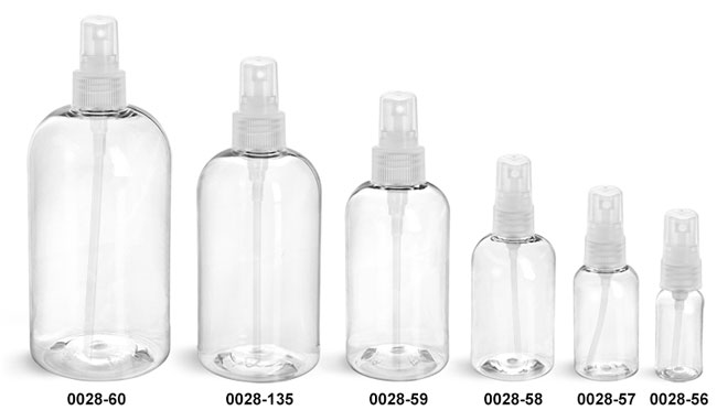 Plastic Bottles, Clear PET Boston Round Bottles With Natural Fine Mist Sprayers