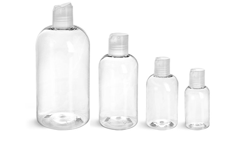 PET Plastic Bottles, Clear Boston Round Bottles w/ Natural Disc Top Caps