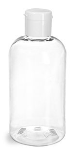 Plastic Bottles, Clear PET Boston Round Bottles w/ White Snap Caps