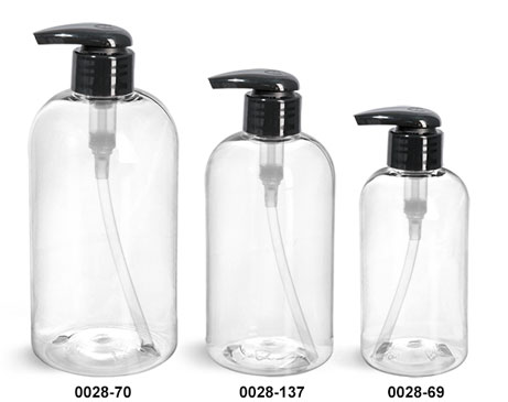 Plastic Bottles, Clear PET Boston Round Bottles w/ 2 cc Black Lotion Pumps