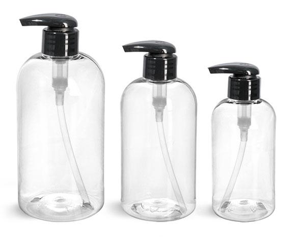 PET Plastic Bottles, Clear Boston Round Bottles w/ 2 cc Black Lotion Pumps