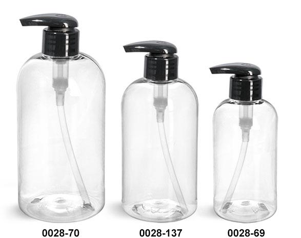 Plastic Bottles, Clear PET Boston Round Bottles w/ 2 cc Black Lotion Pumps