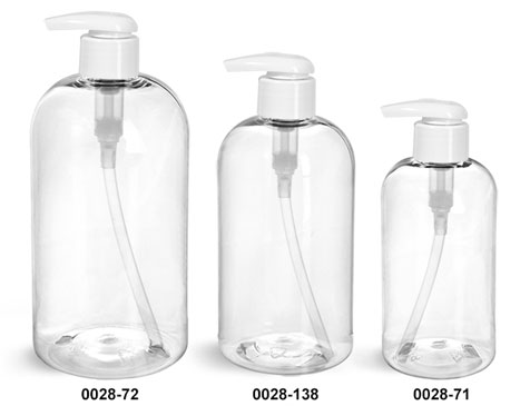 Plastic Bottles, Clear PET Boston Round Bottles w/ 2 cc White Lotion Pumps