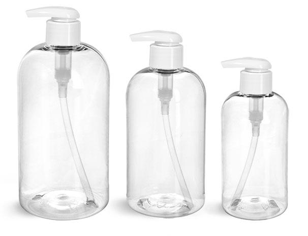 PET Plastic Bottles, Clear Boston Round Bottles w/ 2 cc White Lotion Pumps