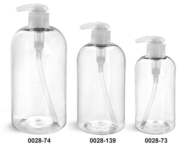 Plastic Bottles, Clear PET Boston Round Bottles w/ 2 cc Natural Lotion Pumps