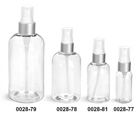 Plastic Bottles, Clear PET Boston Round Bottles With White Sprayers w/ Brushed Aluminum Collars