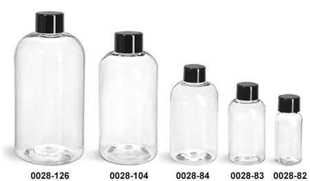 Plastic Bottles, Clear PET Boston Round Bottles With Black Smooth Lined Caps