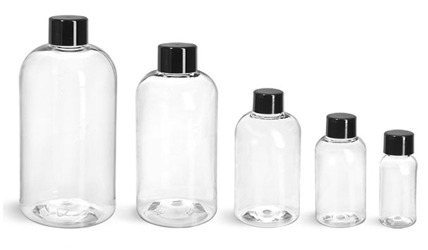 PET Plastic Bottles, Clear Boston Round Bottles w/ Black Smooth Lined Caps