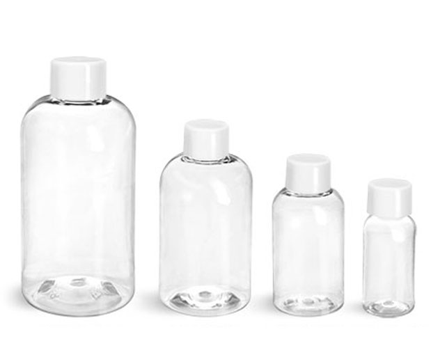 PET Plastic Bottles, Clear Boston Round Bottles w/ White Smooth Lined Caps