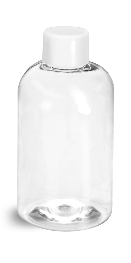 Clear PET Boston Rounds w/ White Smooth Lined Caps