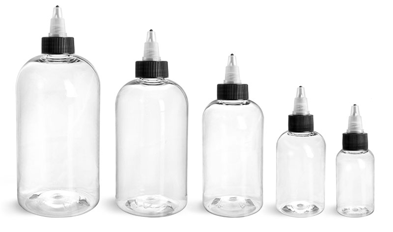PET Plastic Bottles, Clear Boston Round Bottles w/ Black / Natural Twist Top Caps