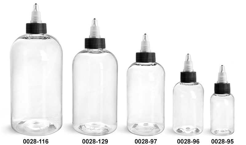 Plastic Bottles, Clear PET Boston Round Bottles w/ Black / Natural Twist Top Caps