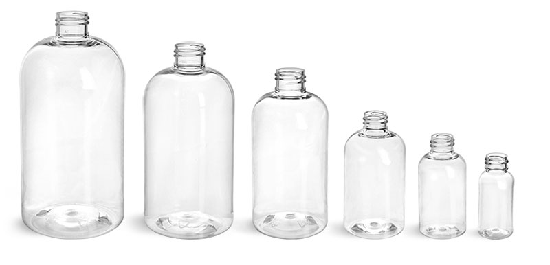 Clear PET Boston Round Bottles (Bulk), Caps NOT Included