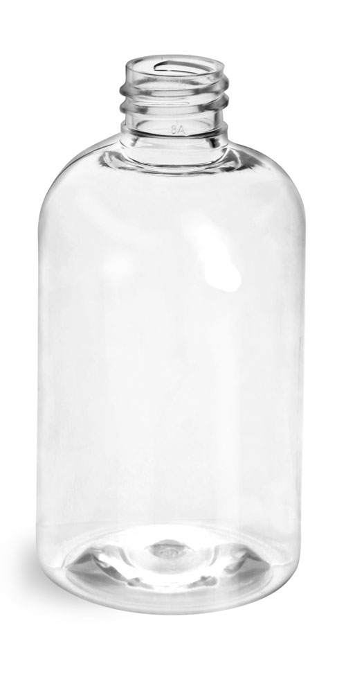 4 oz Clear PET Boston Round Bottles (Bulk), Caps NOT Included