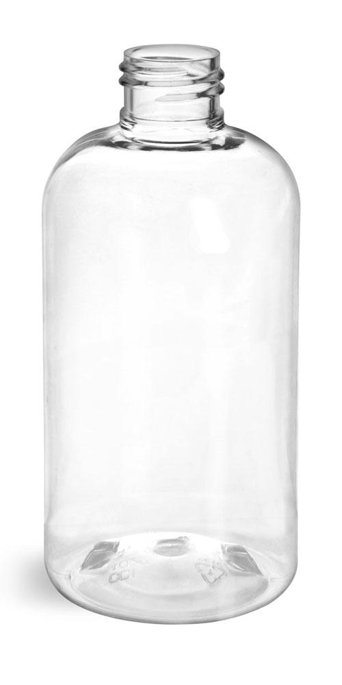 8 oz Clear PET Boston Round Bottles (Bulk), Caps NOT Included