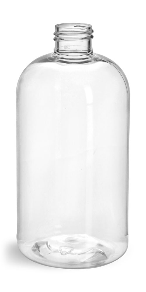 12 oz Clear PET Boston Round Bottles (Bulk), Caps NOT Included