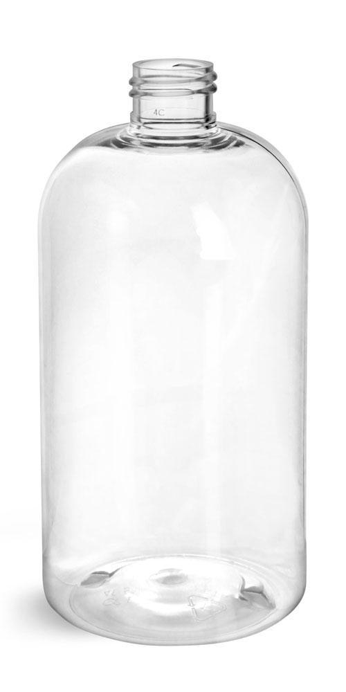 16 oz Clear PET Boston Round Bottles (Bulk), Caps NOT Included