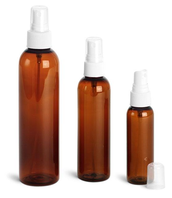 Plastic Bottles, Amber PET Cosmo Round Bottles w/ White Ribbed Fine Mist Sprayers