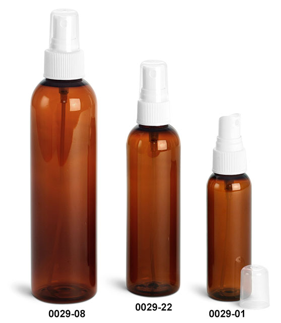 Plastic Bottles, Amber PET Cosmo Round Bottles With White Ribbed Fine Mist Sprayers
