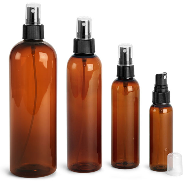 Plastic Bottles, Amber PET Cosmo Round Bottles w/ Black Ribbed Fine Mist Sprayers