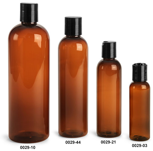 Plastic Bottles, Amber PET Cosmo Round Bottles With Smooth Black Disc Top Caps