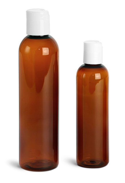 Plastic Bottles, Amber PET Cosmo Round Bottles w/ Smooth White Disc Top Caps