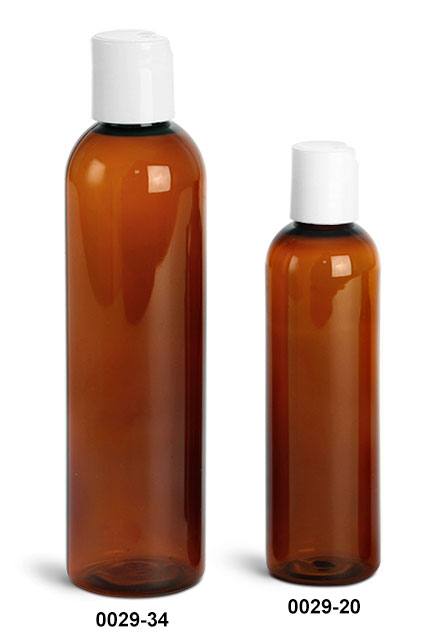 Plastic Bottles, Amber PET Cosmo Round Bottles With Smooth White Disc Top Caps
