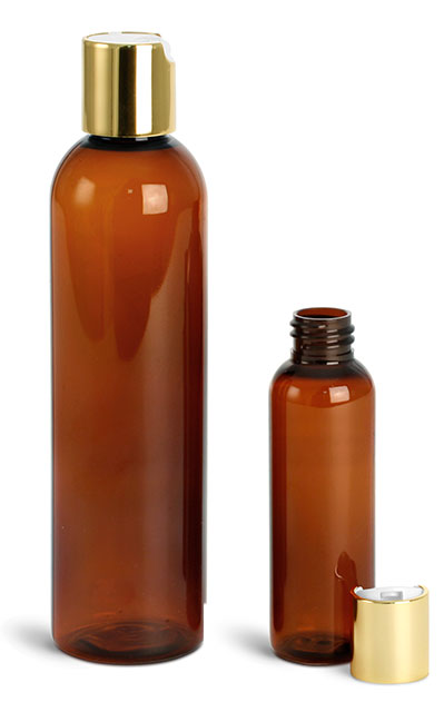 Plastic Bottles, Amber PET Cosmo Round Bottles w/ Gold Disc Top Caps