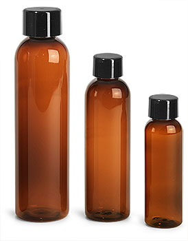 Plastic Bottles, Amber PET Cosmo Round Bottles w/ Smooth Black Plastic Lined Caps