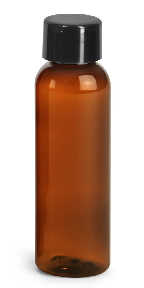 2 oz Plastic Bottles, Amber PET Cosmo Rounds w/ Smooth Black Plastic Lined Caps