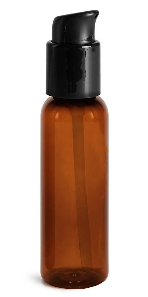 2 oz Amber PET Cosmo Round Bottles w/ Black Treatment Pumps