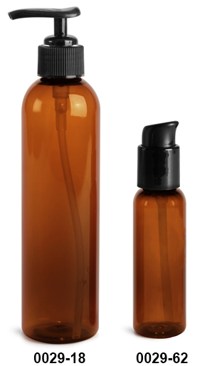 Plastic Bottles, Amber PET Cosmo Round Bottles With Black Lotion Pumps & Treatment Pumps