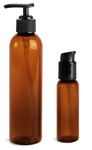Plastic Bottles, Amber PET Cosmo Round Bottles w/ Black Lotion Pumps & Treatment Pumps
