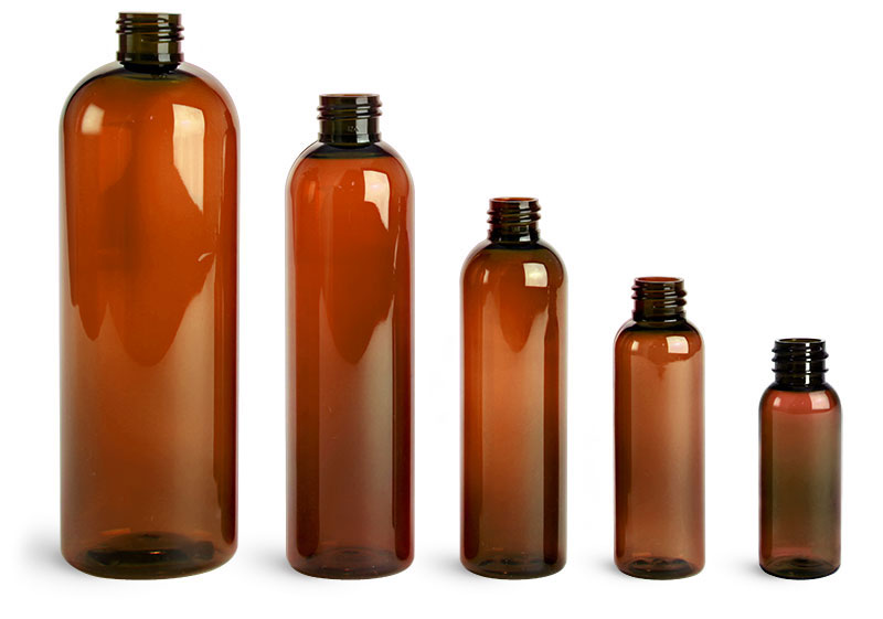 Amber PET Cosmo Round Bottles (Bulk), Caps NOT Included
