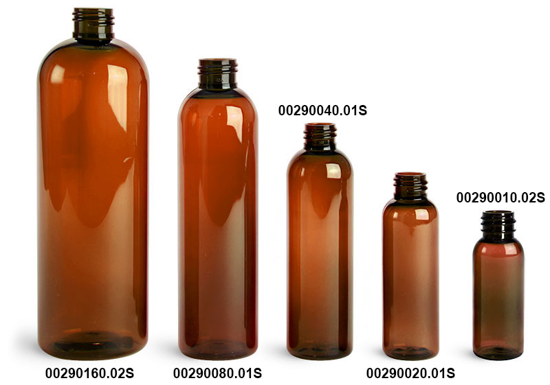 Plastic Bottles, Amber PET Cosmo Round Bottles (Bulk), Caps NOT Included