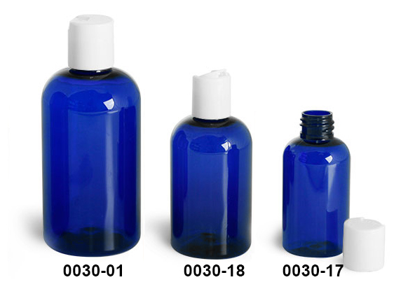 Plastic Bottles, Blue PET Boston Round Bottles w/ White Disc Top Caps