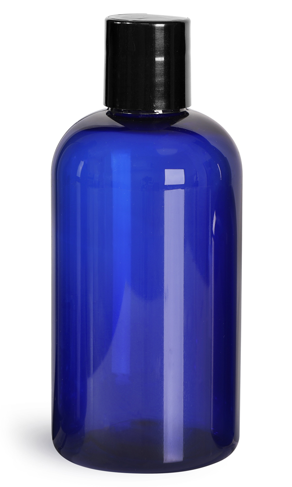 Blue PET Boston Round Bottles w/ Black Disc Top Caps