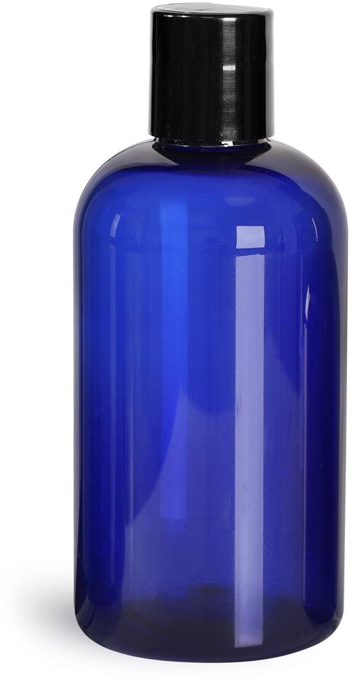 Blue PET Boston Round Bottles w/ Black Disc Top Caps