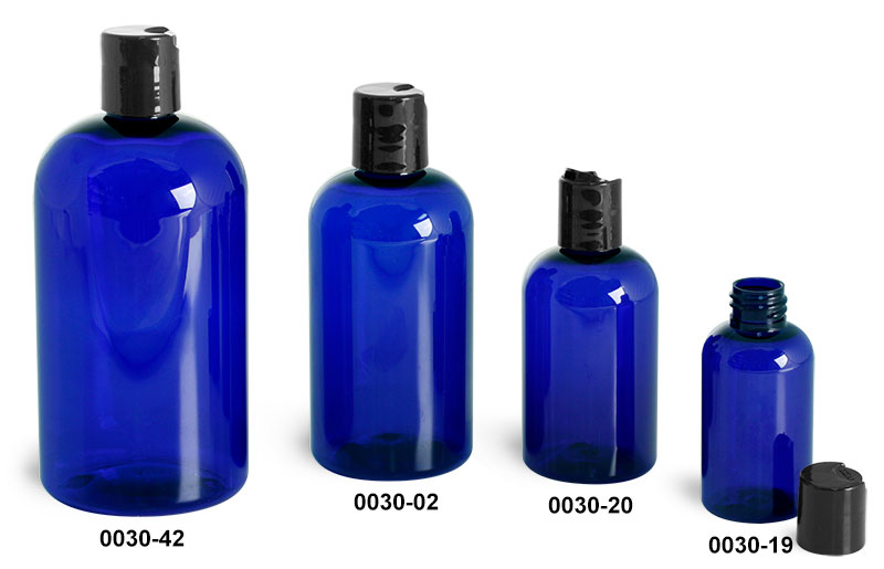 Plastic Bottles, Blue PET Boston Round Bottles w/ Black Disc Top Caps