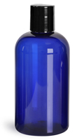 8 oz 8 oz Blue PET Boston Round Bottles w/ Black Disc Top Caps