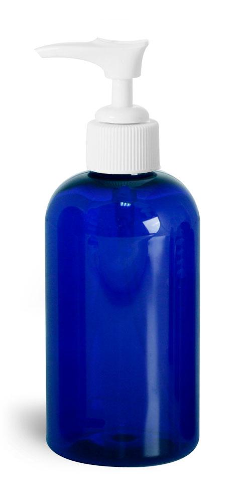 8 oz Blue PET Round Bottles w/ White Pumps