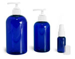 Blue PET Round Bottles w/ White Pumps
