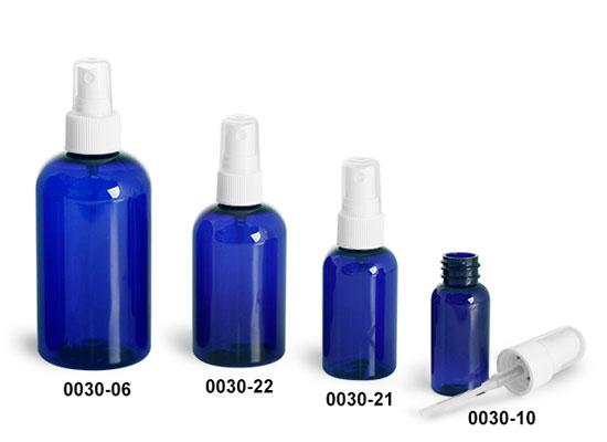 Plastic Bottles, Blue PET Boston Round Bottles w/ White Ribbed Fine Mist Sprayers