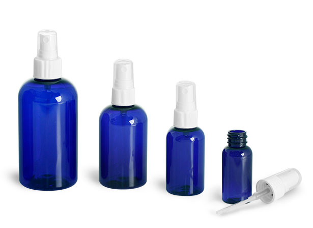 Plastic Bottles, Blue PET Boston Round Bottles w/ White Ribbed Fine Mist Sprayers